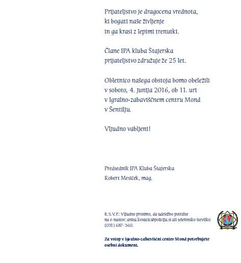 Praznovanje 25. obletnice IPA RK Štajerska